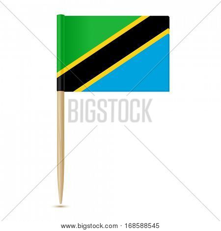 Flag of Tanzania. Flag toothpick on white background 10eps