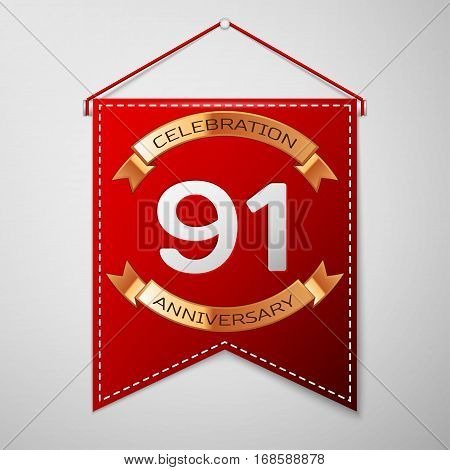 Red pennant with inscription Ninety one Years Anniversary Celebration Design over a grey background. Golden ribbon. Colorful template elements for your birthday party. Vector illustration