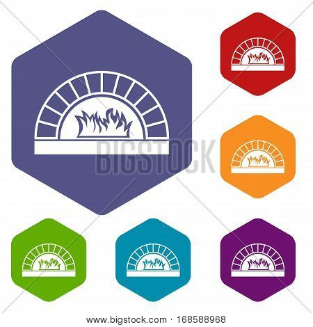 Pizza oven with fire icons set rhombus in different colors isolated on white background
