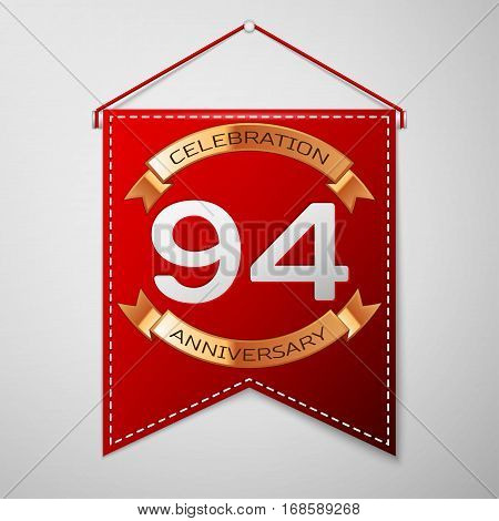 Red pennant with inscription Ninety four Years Anniversary Celebration Design over a grey background. Golden ribbon. Colorful template elements for your birthday party. Vector illustration