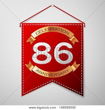 Red pennant with inscription Eighty six Years Anniversary Celebration Design over a grey background. Golden ribbon. Colorful template elements for your birthday party. Vector illustration