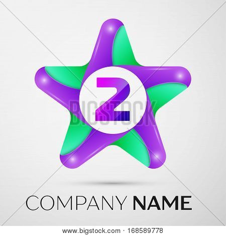 Number two vector logo symbol in the colorful star on grey background. Vector template for your design