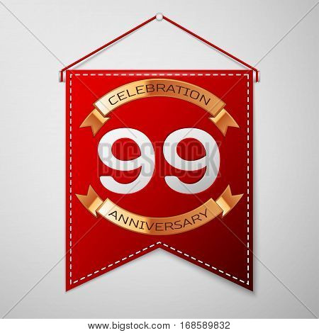 Red pennant with inscription Ninety nine Years Anniversary Celebration Design over a grey background. Golden ribbon. Colorful template elements for your birthday party. Vector illustration