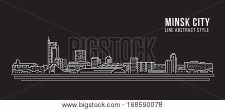 Cityscape Building Line art Vector Illustration design - Minsk city