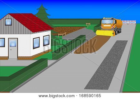 road works and house construction with street sweeper