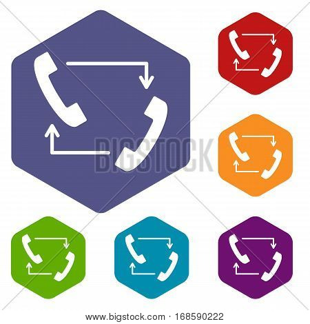 Handsets with arrows icons set rhombus in different colors isolated on white background