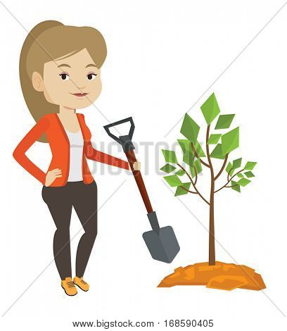 Caucasian woman plants a tree. Woman standing with shovel near newly planted tree. Young woman gardening. Environmental protection concept. Vector flat design illustration isolated on white background