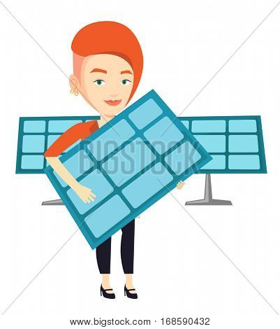 Caucasian worker of solar power plant holding solar panel. Woman with panel in hands standing on the background of solar power plant. Vector flat design illustration isolated on white background.