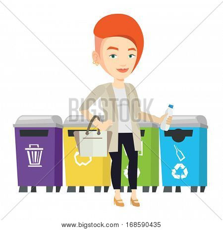 Woman throwing away garbage. Woman standing near four bins and throwing away garbage in an appropriate bin. Concept of garbage separation. Vector flat design illustration isolated on white background.