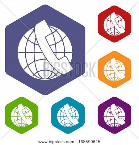 Handset and globe icons set rhombus in different colors isolated on white background