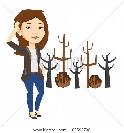 Girl scratching head on the background of dead forest. Dead forest caused by global warming or wildfire. Environmental destruction concept. Vector flat design illustration isolated on white background