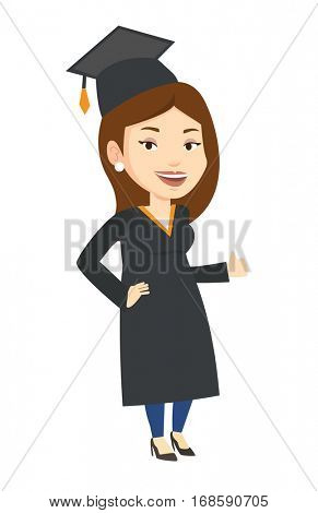 Happy female graduate in cloak and graduation cap. Caucasian graduate giving thumb up. Joyful graduate celebrating. Concept of education. Vector flat design illustration isolated on white background.