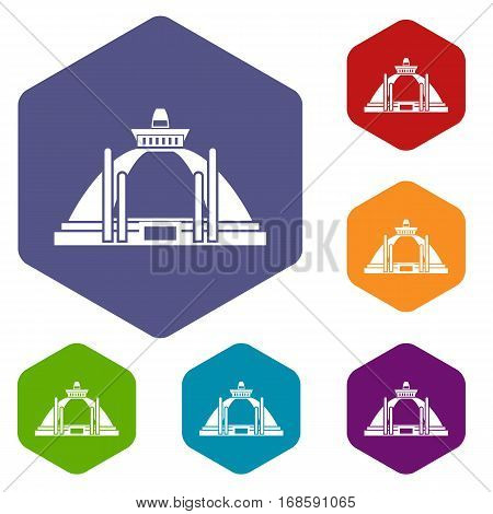 Polonnaruwa, ancient stupa icons set rhombus in different colors isolated on white background
