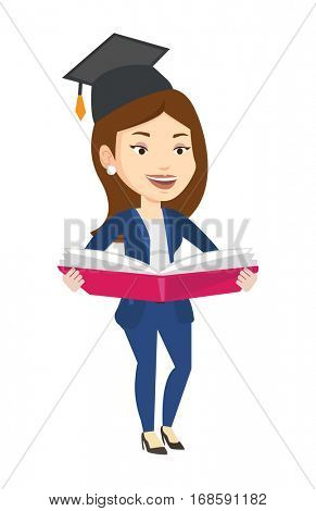 Caucasian graduate standing with a big open book in hands. Smiling female student in graduation cap reading a book. Woman holding a book. Vector flat design illustration isolated on white background.