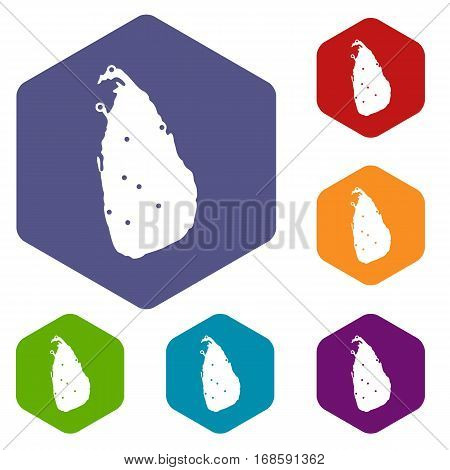 Map of Sri Lanka icons set rhombus in different colors isolated on white background