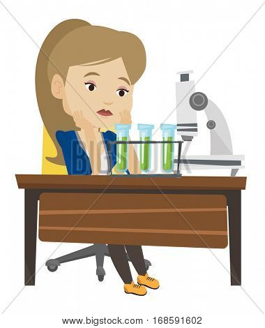 Disappointed student carrying out experiment in chemistry class. Female student clutching head after failed experiment in chemistry class. Vector flat design illustration isolated on white background.