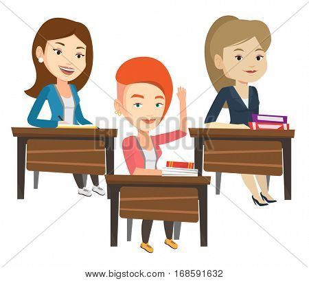 Student raising hand in the classroom for an answer. Happy student sitting at the desk with raised hand. Student raising hand at lesson. Vector flat design illustration isolated on white background.