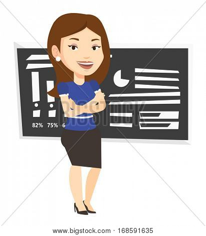Caucasian female teacher standing in classroom. Female teacher standing in front of chalkboard. Female teacher standing with folded arms. Vector flat design illustration isolated on white background.