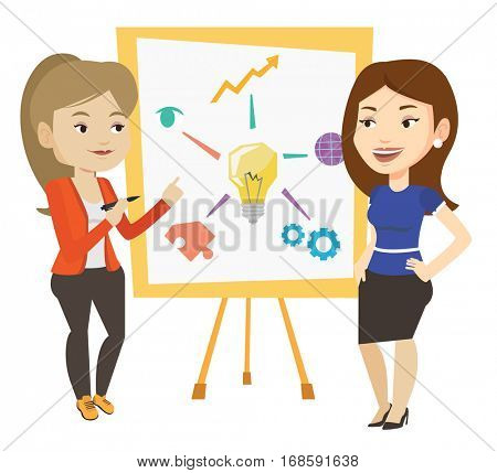 Two caucasian students discussing a project. Group of young students working on a project. Female student drawing project on a board. Vector flat design illustration isolated on white background.