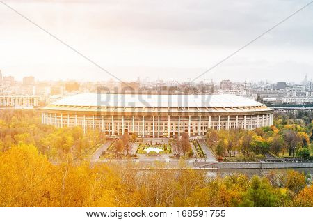 The Grand Sports Arena of the Luzhniki Olympic Complex view from Vorobyovy Gory
