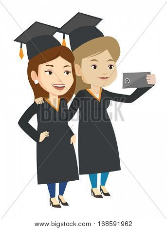 Cheerful graduates in cloaks and graduation caps making selfie. Graduates making selfie with cellphone. Caucasian graduates making selfie. Vector flat design illustration isolated on white background.