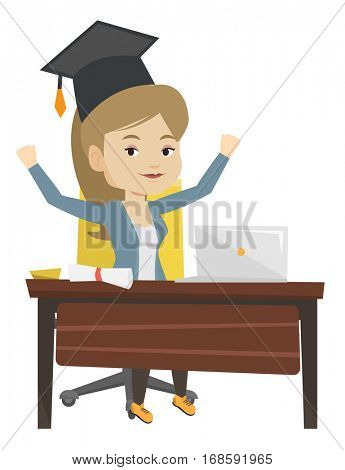 Graduate sitting at the table with laptop and diploma. Graduate in graduation cap using laptop for education. Online graduation concept. Vector flat design illustration isolated on white background.