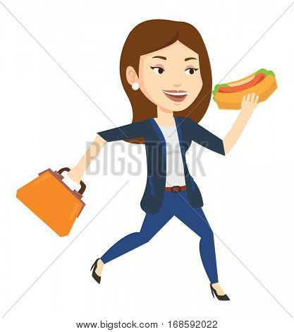 Business woman in a hurry eating hot dog. Business woman with briefcase eating on the run. Young business woman running and eating hot dog. Vector flat design illustration isolated on white background