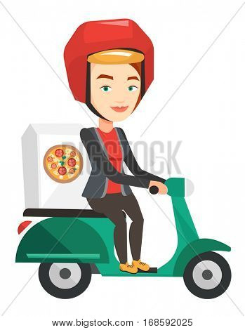 Young caucasian woman delivering pizza on scooter. Courier driving a motorbike and delivering pizza. Worker of delivery service of pizza. Vector flat design illustration isolated on white background.