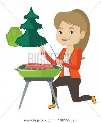 Woman sitting next to barbecue grill in the park. Caucasian woman cooking steak on barbecue grill outdoors. Woman having a barbecue party. Vector flat design illustration isolated on white background.