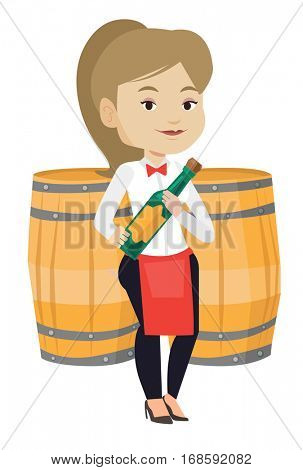 Waitress holding a bottle of wine. Waitress with bottle standing on the background of wine barrels. Waitress presenting a wine bottle. Vector flat design illustration isolated on white background.