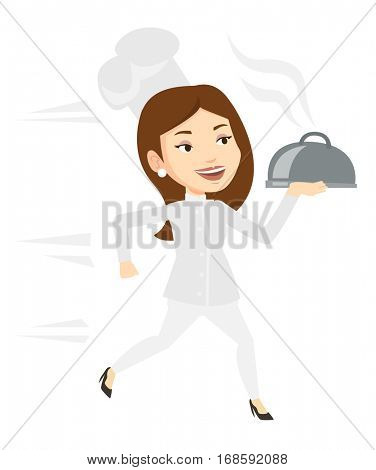 Caucasian chef cook in a cap and white uniform running. Cheerful chef cook holding a cloche. Smiling chef cook fast running with a cloche. Vector flat design illustration isolated on white background.