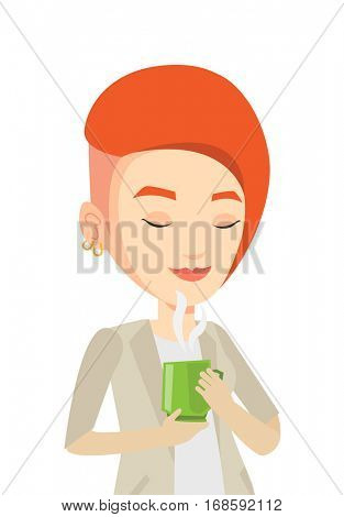Caucasian happy woman drinking hot flavored coffee. Woman holding cup of coffee with steam. Woman with her eyes closed enjoying coffee. Vector flat design illustration isolated on white background.