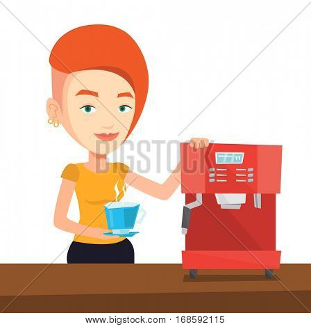 Young caucasian woman making coffee. Woman standing near coffee-machine. Woman holding cup of hot coffee in hand. Vector flat design illustration isolated on white background.