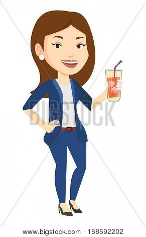 Caucasian woman holding cocktail glass with drinking straw. Joyful woman drinking a cocktail. Young happy woman celebrating with cocktail. Vector flat design illustration isolated on white background.