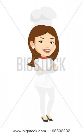 Caucasian chief cook in uniform and hat standing with arms crossed. Young caucasian chef cook. Full length of confident female chief cook. Vector flat design illustration isolated on white background.