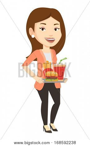 Caucasian woman holding tray with fast food. Young smiling woman having a lunch in a fast food restaurant. Happy woman with fast food. Vector flat design illustration isolated on white background.