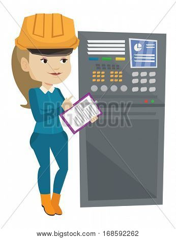 Woman working on control panel. Worker pressing button at control panel. Engineer with clipboard standing in front of the control panel. Vector flat design illustration isolated on white background.