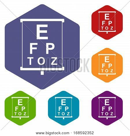 White placard with letters eyesight testing icons set rhombus in different colors isolated on white background