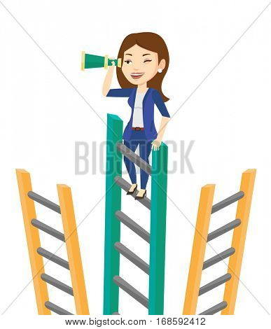 Business woman searching for opportunities. Business woman using spyglass for searching of opportunities. Business opportunities concept. Vector flat design illustration isolated on white background.