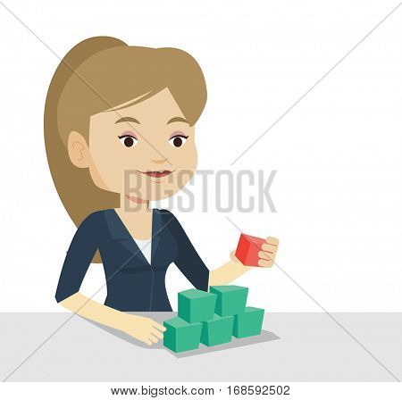 Young caucasian woman making pyramid of network avatars. Smiling woman building her social network. Networking and communication concept. Vector flat design illustration isolated on white background.