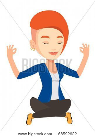 Caucasian business woman doing yoga in lotus pose. Business woman meditating in yoga lotus pose. Business woman sitting in yoga lotus pose. Vector flat design illustration isolated on white background