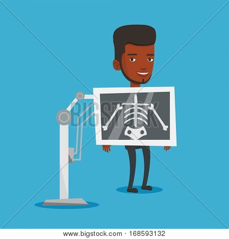 Young african-american man during chest x ray procedure. Young man with x ray screen showing his skeleton. Happy male patient visiting roentgenologist. Vector flat design illustration. Square layout.