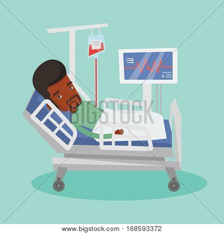 African-american man lying in bed in hospital. Patient resting in hospital bed with heart rate monitor. Patient during blood transfusion procedure. Vector flat design illustration. Square layout.