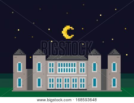 Vector Pixel Landscape With Mansion and Moon