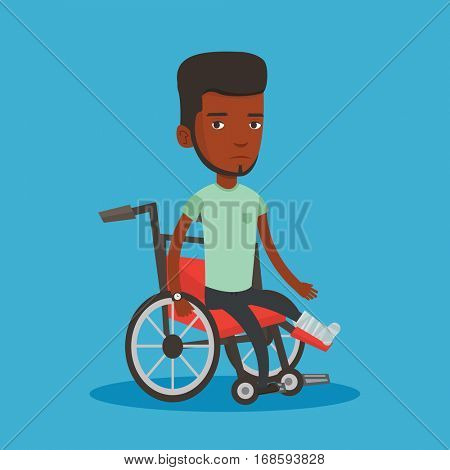 Sad african-american man with leg in plaster. Injured upset man sitting in wheelchair with broken leg. Man with fractured leg suffering from pain. Vector flat design illustration. Square layout.