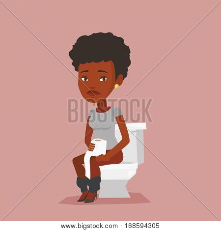 African woman sitting on toilet bowl and suffering from diarrhea. Woman holding toilet paper roll and suffering from diarrhea. Girl sick with diarrhea. Vector flat design illustration. Square layout.