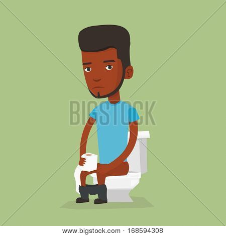 African man sitting on toilet bowl and suffering from diarrhea. Young man holding toilet paper roll and suffering from diarrhea. Man sick with diarrhea. Vector flat design illustration. Square layout.