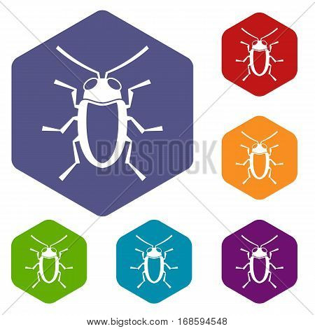 Longhorn beetle grammoptera icons set rhombus in different colors isolated on white background