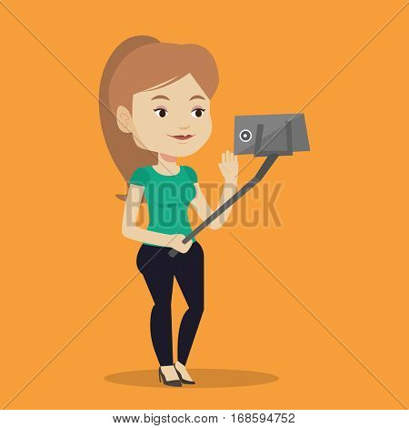 Caucasian woman making selfie with a selfie-stick. Smiling woman taking photo with cellphone. Young woman taking selfie and waving her hand. Vector flat design illustration. Square layout.