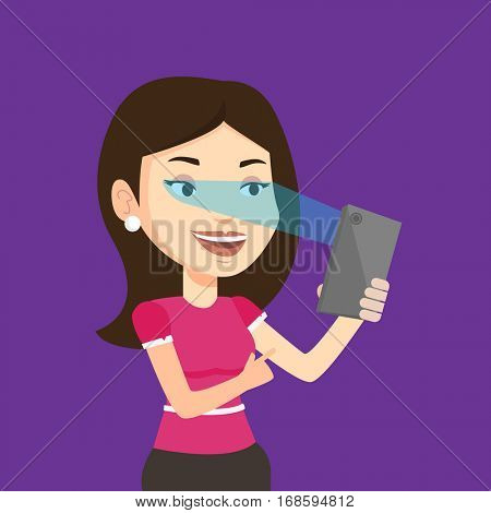 Smiling caucasian woman using smart mobile phone with retina scanner. Young happy woman using iris scanner to unlock her mobile phone. Vector flat design illustration. Square layout.